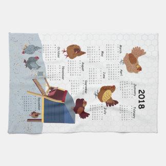2018 Calendar Chicken Tea Towel