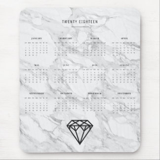 2018 Calendar Diamond with Marble Mouse Pad