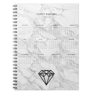 2018 Calendar Diamond with Marble Notebook