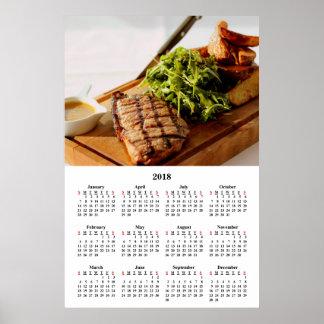 2018 Calendar Fine Dining Fancy Gourmet Meal Poster