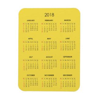 2018 Calendar Magnet Yellow Plain Basic