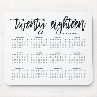 2018 Calendar | Modern Typography Mouse Pad