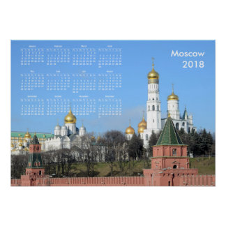 2018 calendar Moscow (Russia) Poster