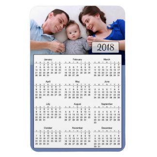 2018 Calendar Personalized Blue Photo Magnet