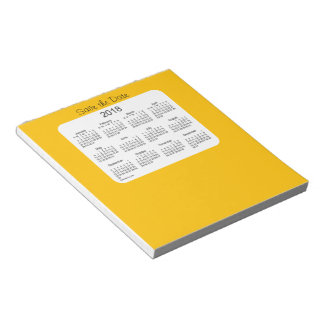 2018 Calendar Save the Date Gold Notepad