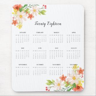 2018 Calendar Spring Flowers Mouse Pad