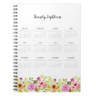 2018 Calendar Spring Flowers Notebook