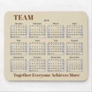 2018 Calendar TEAM Mouse Pad