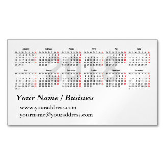 2018 calendar template 	Magnetic business card