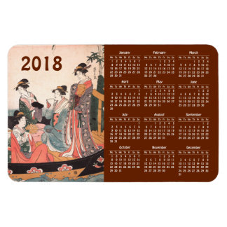 2018 Calendar Vintage Japanese Print Rectangular Photo Magnet