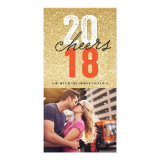 2018 Cheers Bold Happy New Year Holiday Photo Card