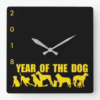2018 Chinese New Year of The Dog Black Wall Clock