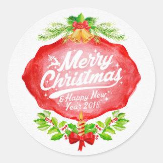 2018 Christmas & New Year Classic Round Sticker