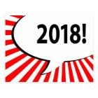 2018 comic bubble postcard
