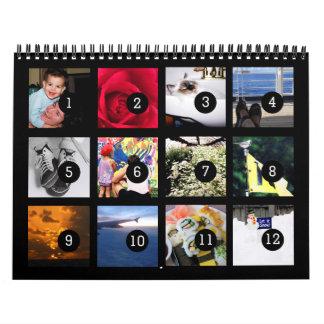 2018 facile en tant que 1 à 12 votre propre noir calendriers muraux