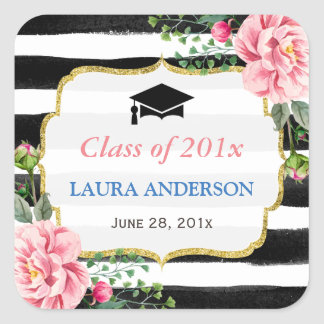 2018 Graduation Floral Black White Stripe Square Sticker
