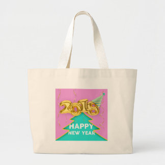 2018 happy new year large tote bag