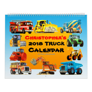 2018 Kids Construction Truck Calendar