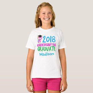 2018 Kindergarten Graduate Custom Pink Owl T-Shirt