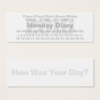 2018 Monday Diary Card Celsius