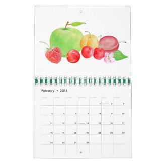 2018 Monthly Calendar Watercolor Fruit