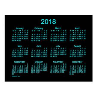 2018 Neon Blue Mini Calendar by Janz Postcard
