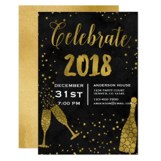 2018 New Year's Eve Party Champagne Glasses Card