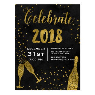 2018 New Year's Eve Party Champagne Glasses Postcard