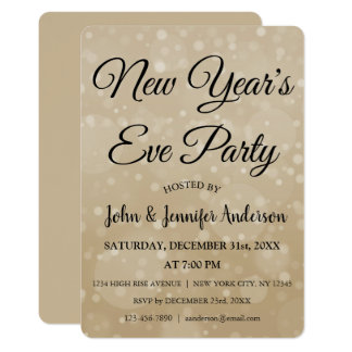 2018 New Year's Eve Party Faux Bokeh Card