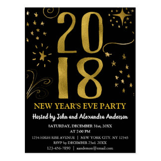 2018 New Year's Eve Party Faux Gold Foil Celestial Postcard