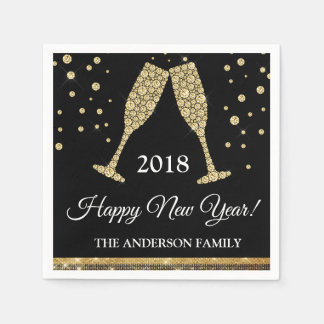 2018 New Year's Eve Party Faux Gold Foil Disposable Napkins