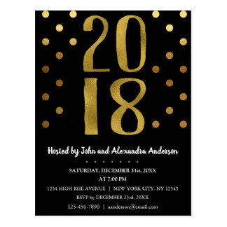 2018 New Year's Eve Party Faux Gold Foil Postcard