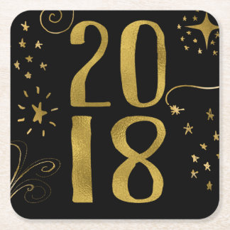 2018 New Year's Eve Party Faux Gold Foil Square Paper Coaster