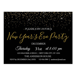 2018 New Year's Eve Party Glitter Sparkle Invite Postcard
