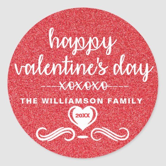 2018 Personalized Red Glitter Valentine Envelope Classic Round Sticker