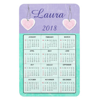 2018 Purple and Teal Mini Calendar Name Magnet