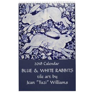 2018 Rabbit Calendar Blue & White Ceramics & Tile