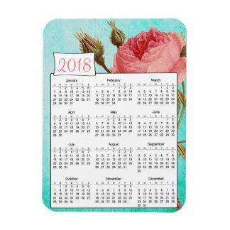 2018 Rustic Teal Pink Roses Calendar Magnet
