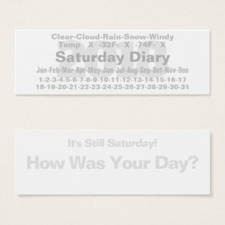2018 Saturday Diary Card Fahrenheit