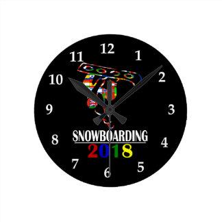 2018 SNOWBOARDING ROUND CLOCK
