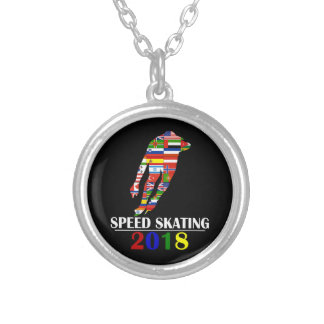 2018 SPEED SKATING SILVER PLATED NECKLACE