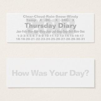 2018 Thursday Diary Card Celsius
