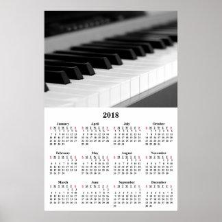 2018 Wall Calendar Beautiful Music Piano Poster