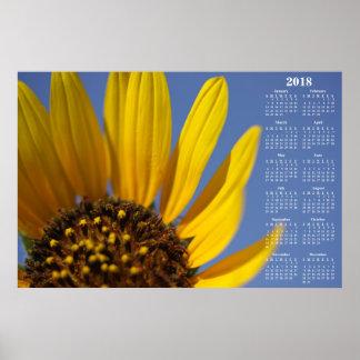 2018 Wall Calendar Sunflower & Blue Sky Poster