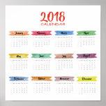 2018 Watercolor Calendar | Poster