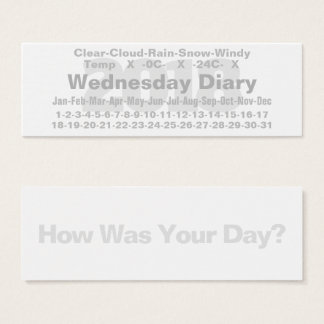 2018 Wednesday Diary Card Celsius