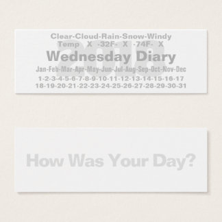 2018 Wednesday Diary Card Fahrenheit