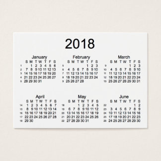 2018 White 52 Week Calendar by Janz Business Cards