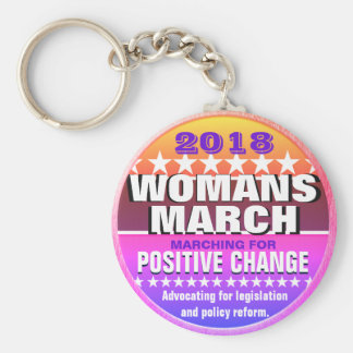2018 Womans March Pinback Button Keychain