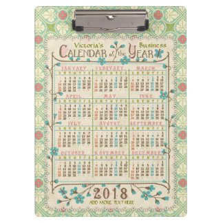 2018 Year Calendar Victorian Art Nouveau | Custom Clipboard